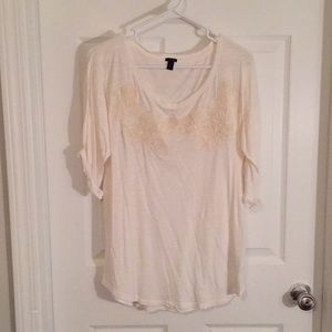 J. Crew Ivory Tee with Embroidery